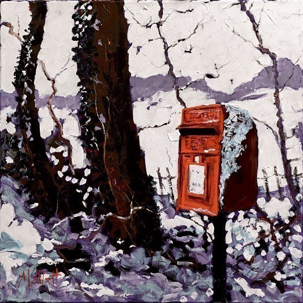 Snowy Postbox by Timmy Mallett - Hand Finished Limited Edition on Canvas sized 18x18 inches. Available from Whitewall Galleries